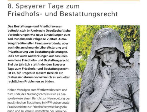 15.09. – 16.09.2016: 8. Speyerer Tage zum Friedhofs- und Bestattungsrecht