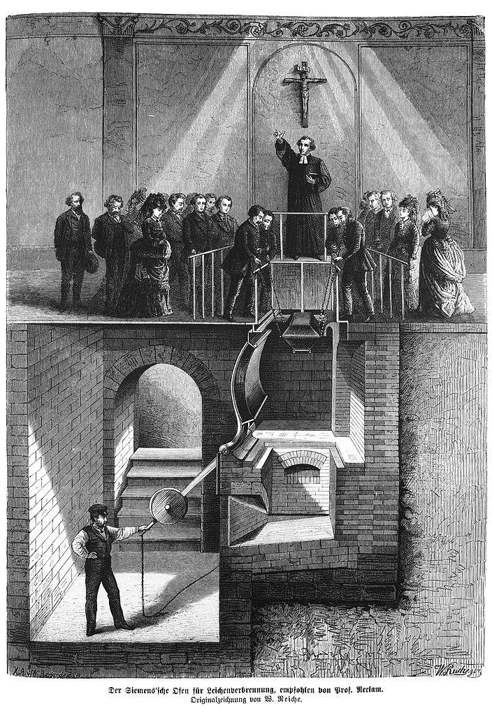 Der Siemens'sche Ofen für Leichenverbrennung, zeitgenössische Darstellung von 1874